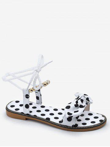 Latest Polka Dot Beading Bow Decorated Ankle Strap Sandals