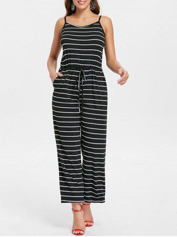 Discount Drawstring Waist Striped Jumpsuit