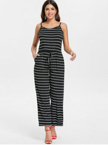 Drawstring Waist Striped Jumpsuit