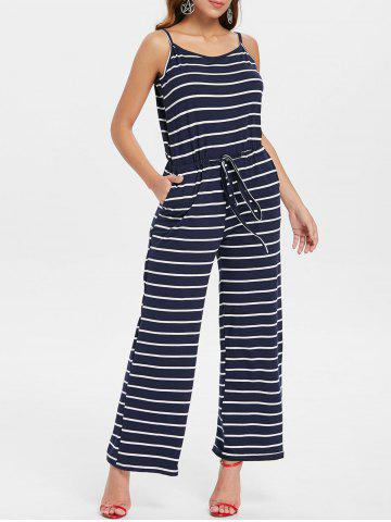 Online Drawstring Waist Striped Jumpsuit