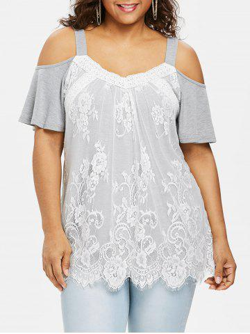 Plus Size Cold Shoulder Lace Overlay Top - Light Gray - 2x