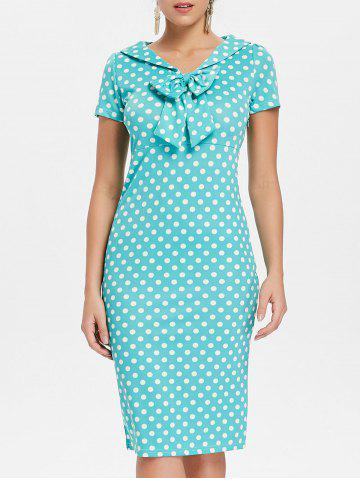 Outfits Bowknot Embellished Polka Dot Bodycon Dress