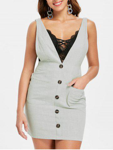 Cheap Button Embellished Plunge Bodycon Dress