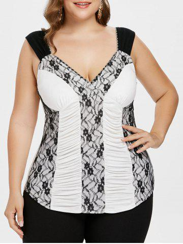 Cheap Plus Size Ruched V Neck Tank Top