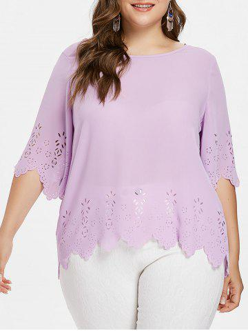 Plus Size Laser Cut Scalloped Blouse - Mauve - 4x