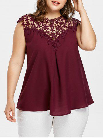 Chic Openwork Plus Size Sleeveless Blouse
