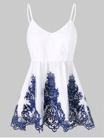 Hot Embroidered Ruffle Tank Top