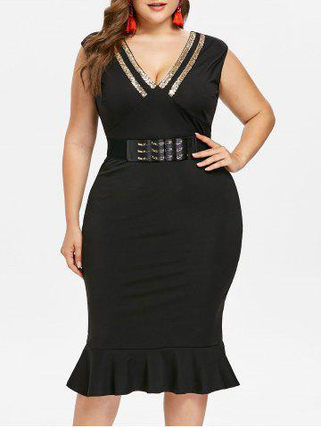 Plus Size Sleeveless Knee Length Mermaid Dress - Black - 2x