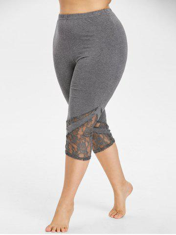 Latest Lace Panel Plus Size Cropped Leggings
