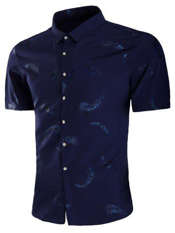 Outfits Feather Print Button Up Shirt