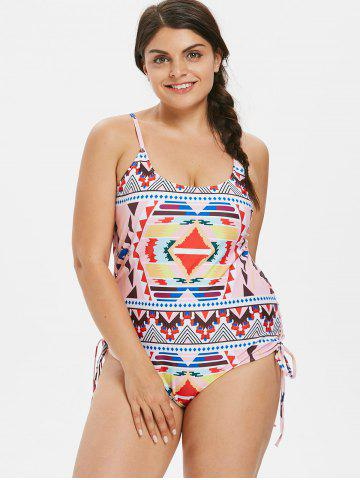 Plus Size Ethnic Lace Up Swimsuit