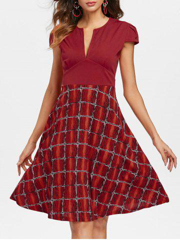 Chic V Neck Fit and Flare Dress