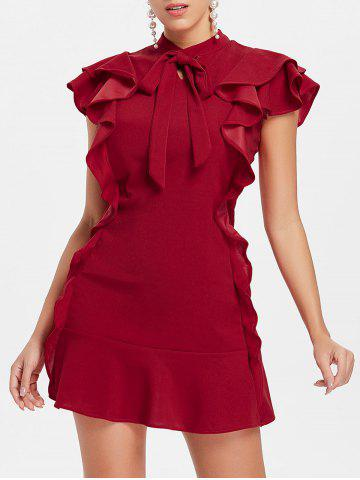 Sale Bow Neck Flounce Mini Dress