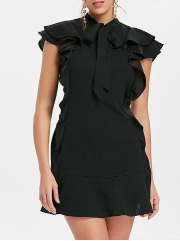 Chic Bow Neck Flounce Mini Dress