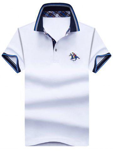 Chic Embroidery Horse Stripe Trim Polo T-shirt