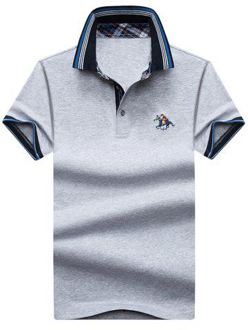 Shop Embroidery Horse Stripe Trim Polo T-shirt