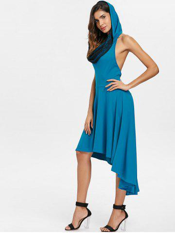 Convertible Hooded High Low Swing Dress