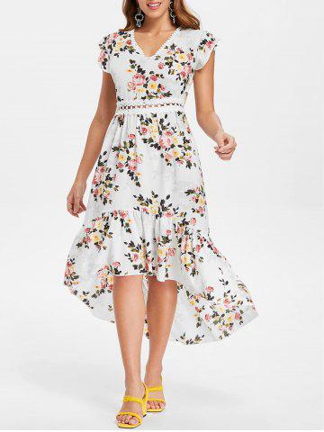 Trendy Floral Print Back Cut Out High Low Dress