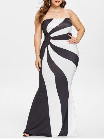 Plus Size Two Tone Strapless Maxi Dress - White - 5x