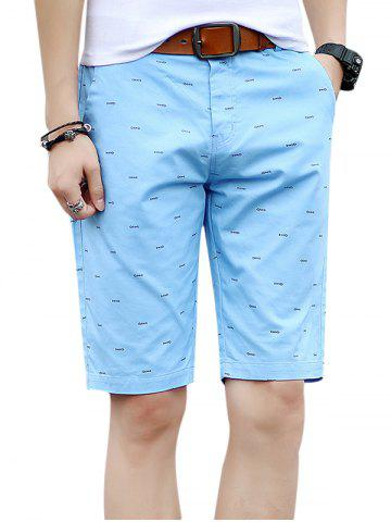Outfits Zipper Fly Fishbone Print Casual Shorts