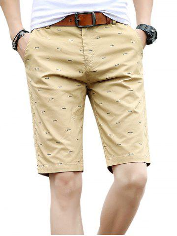 Affordable Zipper Fly Fishbone Print Casual Shorts
