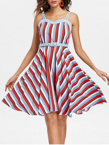Shop Striped A Line Vintage Dress with Belt