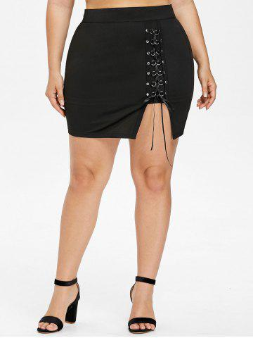New Plus Size Lace Up Mini Bodycon Skirt