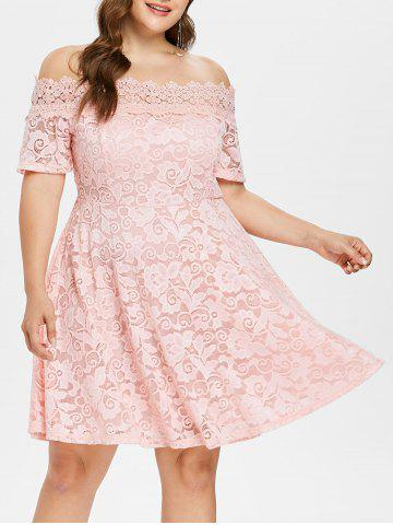 Chic Off The Shoulder Plus Size Lace Dress