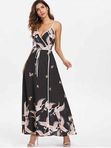 Birds Print Spaghetti Strap Maxi Dress