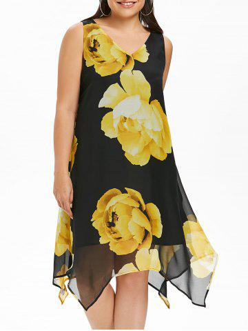 V Neck Plus Size Floral Print Asymmetrical Dress - Black - 5x