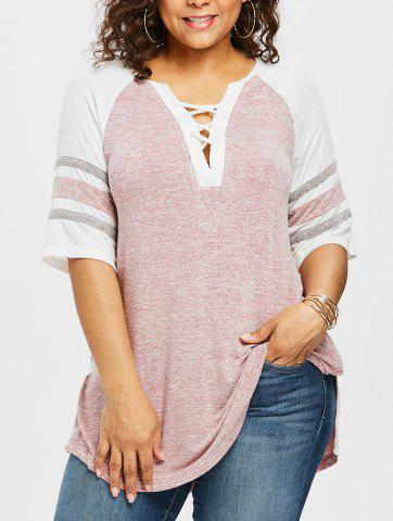 Best Plus Size Marled Deep V Cut T-shirt