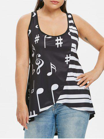 Affordable Plus Size U Neck Music Note Tank Top