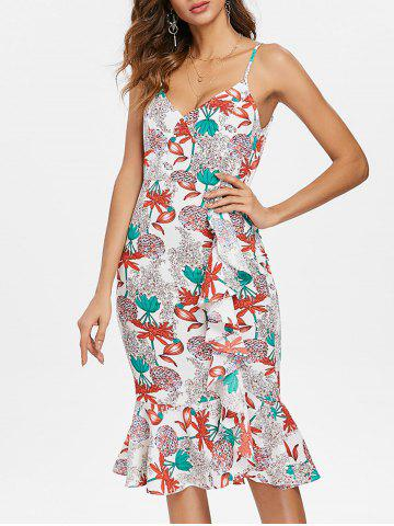 Ruffle Floral Midi Fishtail Dress