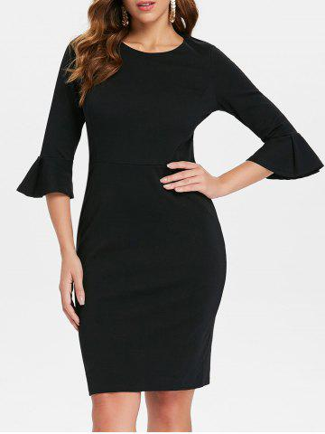 Best Bodycon Bell Sleeve Knee Length Dress