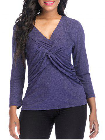 V Neck knotted Front Long Sleeve Top