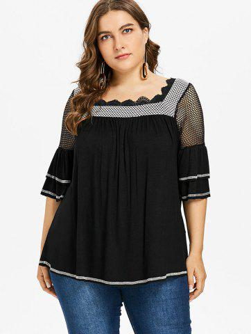 Plus Size Square Neck Tiered Sleeve T-shirt
