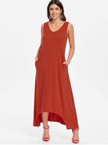 Sleeveless Front Pockets Maxi Dress