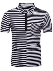 Striped Splicing Polo Shirt with Pocket -