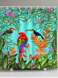 Colorful Birds Plants Print Waterproof Shower Curtain -