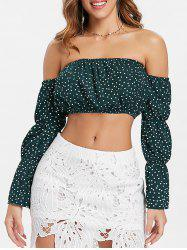 Polka Dot Insert Off The Shoulder Crop Top -