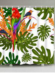 Tropical Plants Parrot Print Waterproof Shower Curtain -