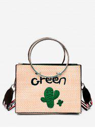 Leisure Letter Cactus Embellished Circle 2 Pieces Handbag Set -