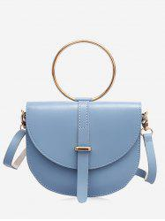 Flapped Faux Leather Ring Buckled Crossbody Bag -