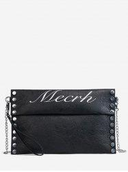 PU Leather Chic Studded Crossbody Bag with Wristlet -