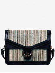 Contrasting Color Splicing Flapped Crossbody Bag -