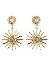 Faux Pearl Sun Light Design Rhinestone Earrings -