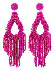 Beads Decoration Teardrop Shaped Tassel Earrings -