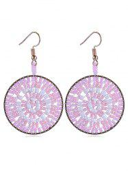 Round Shaped Beads Decoration Hook Earrings -