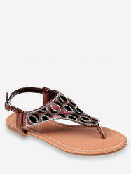 Crystals Buckled Flat Heel Beach Thong Sandals -