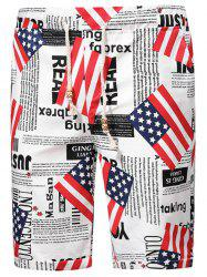 Flag Newspaper Inspired Elastic Waist Beach Shorts -